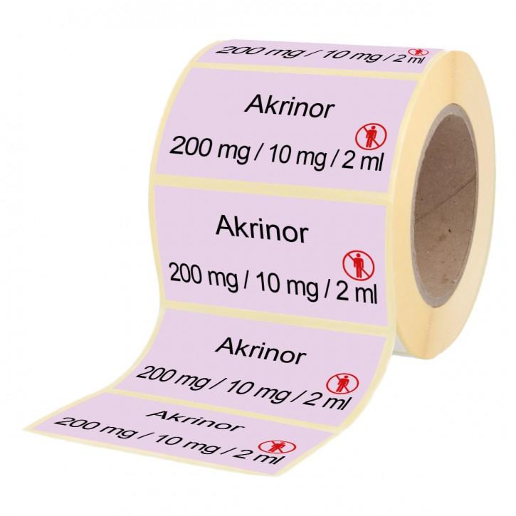 Akrinor 200 mg /10 mg / 2 ml - Etiketten für Brechampullen