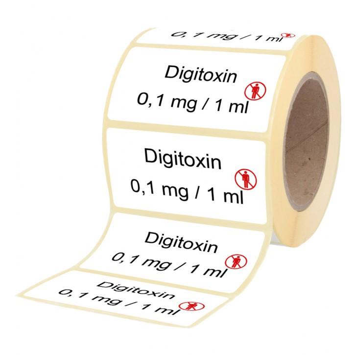Digitoxin 0,1 mg  / 1 ml - Etiketten für Brechampullen