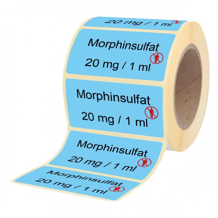 Morphinsulfat 20 mg / 1 ml - Etiketten für Brechampullen