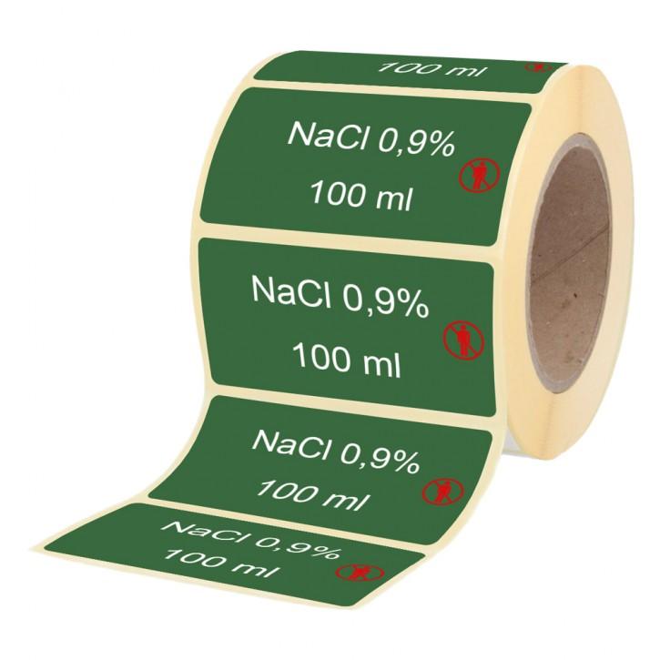 NaCl 0,9 % / 100 ml - Etiketten für Stechampullen