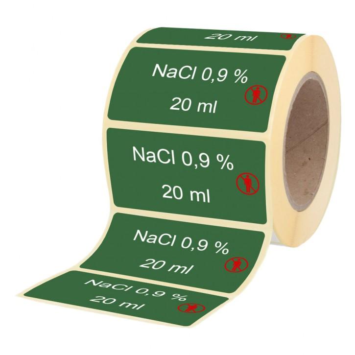 NaCl 0,9 % / 20 ml - Etiketten für Brechampullen