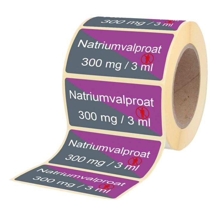 Natriumvalproat 300 mg / 3 ml - Etiketten für Brechampullen