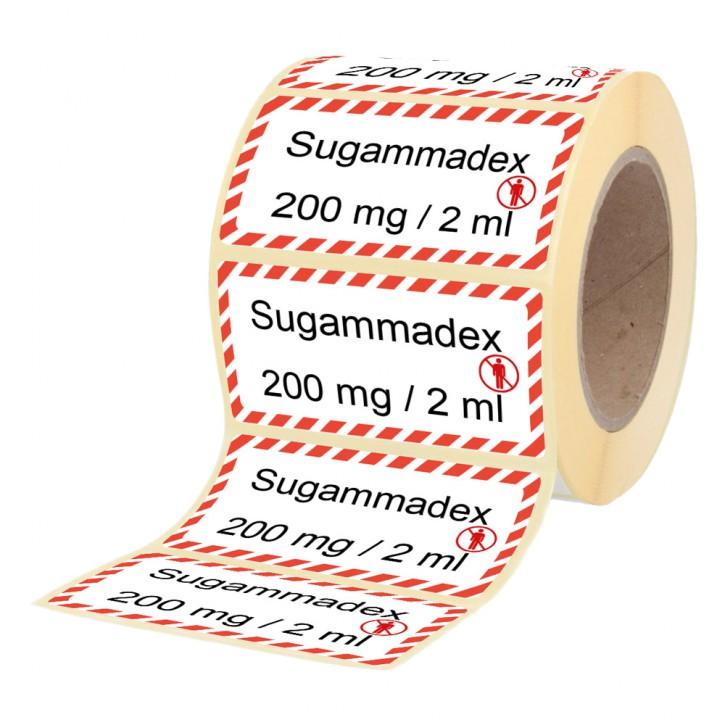 Sugammadex 200 mg / 2 ml - Etiketten für Stechampullen
