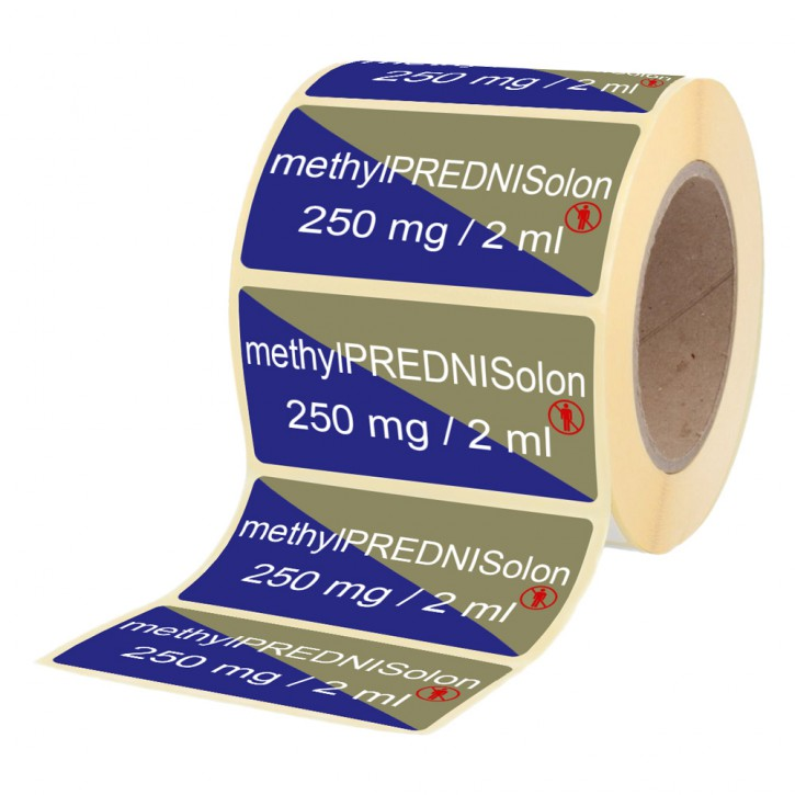 Methylprednisolon 250 mg / 2 ml Etikett für Brechampullen